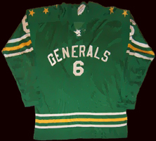 Eastern Hockey League  - Greensboro Generals Jersey - Sans Serif Font